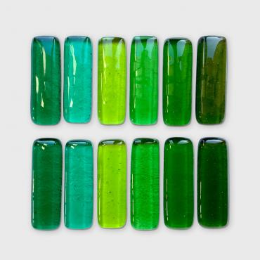Set of 12 knives rests barrettes Green