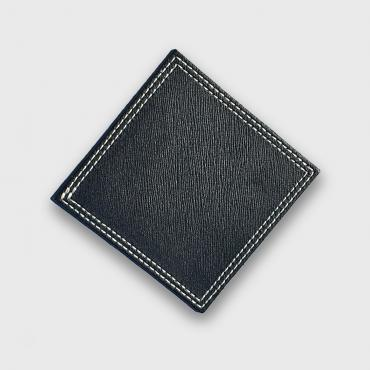 Coaster in black leather