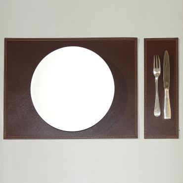 Set de table DUO en cuir Chocolat