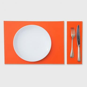 Set de table en cuir DUO orange