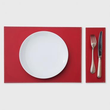 Set de table en cuir DUO rouge