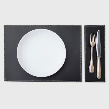 Set de table DUO en cuir noir