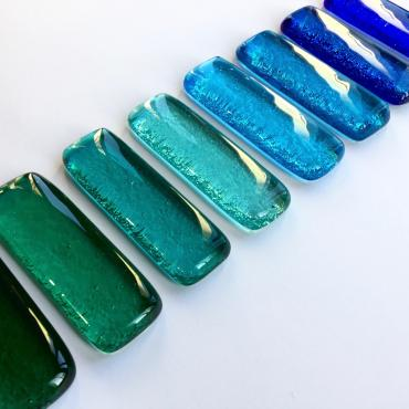 Set of 8 knife-rests barrettes Blue-green