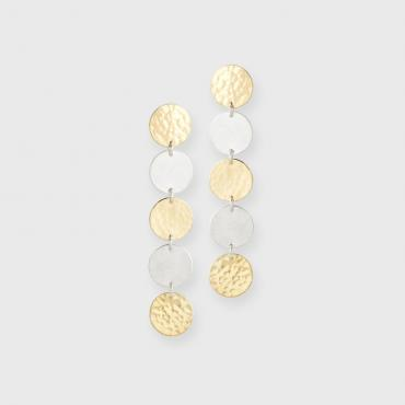 Earrings DOTS-Pastille silver/gold 22 ct
