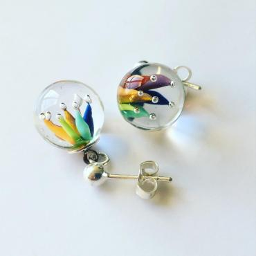 Boucles d'oreilles implosion multicolores