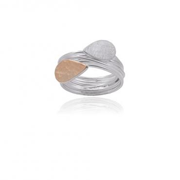 Ring Perle de pluie in silver and gold 22 cts RJC ethical