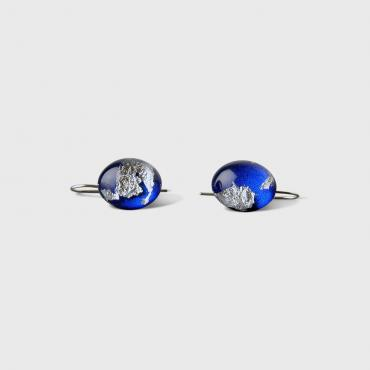 Earrings MX Dacryl 588 / pépite argent fond bleu