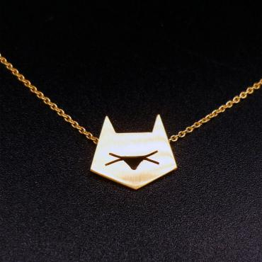 Collier chat graphique doré
