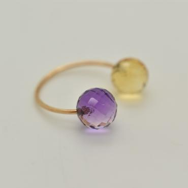 Ring Toi&Moi citrine and amethyst