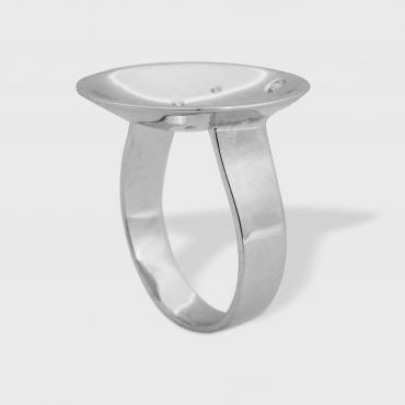 Bague Coupole or blanc
