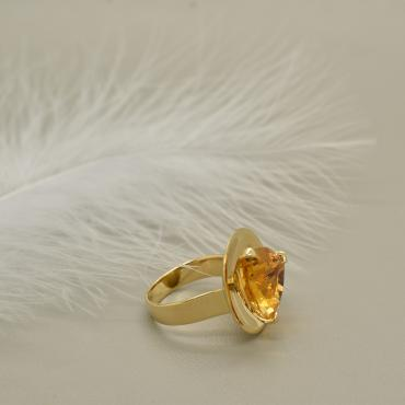 Bague Coupole d'or jaune Citrine