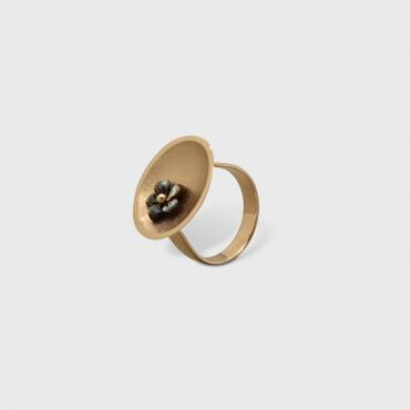 Ring Coupole rose gold Flower in mother-of-pearl