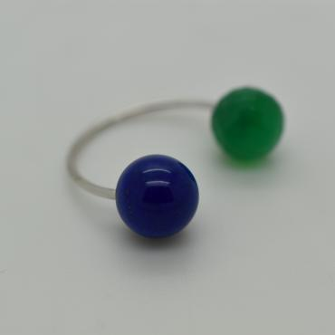 Ring Toi&Moi green Agate and Lapis lazuli