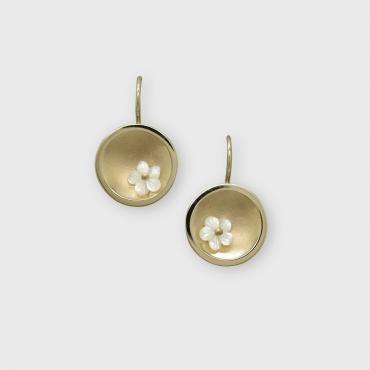 Earrings Coupole d'or white mother-of-pearls