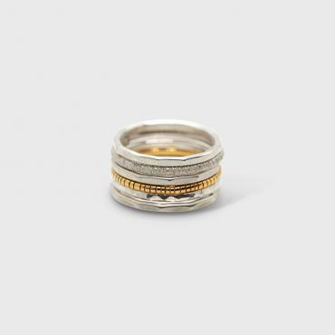 Set of 6 rings Reflets in silver and silver-gilt