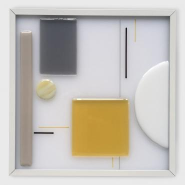Square wall light motif carré jaune et rectangle gris