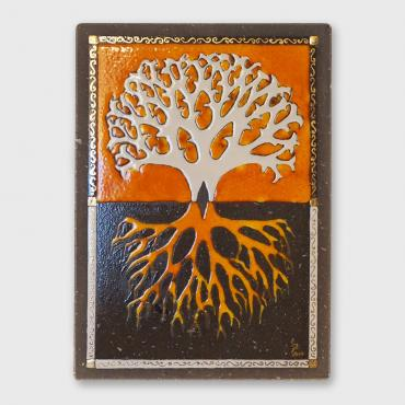 Wall decoration arbre de vie orange feu in enamelled lava