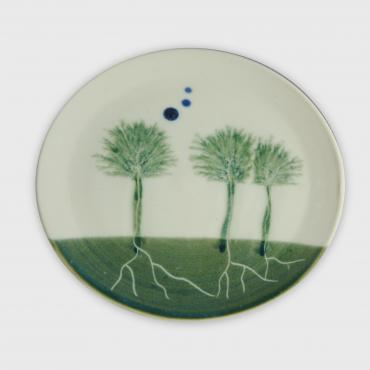Plate Arbres green small