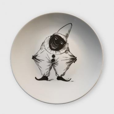 Assiette murale/Wall plate CLOWN NOIR