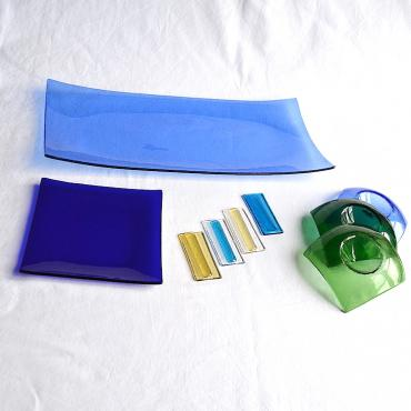 4 Knife rests in Glass Transparent et Couleur