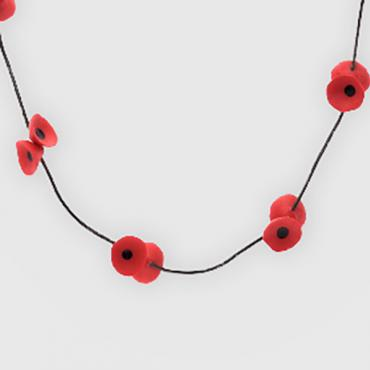Necklace Coquelicots red and black