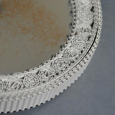 Ancient Round White Mirror