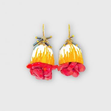 Earrings Cocoon rouge x moutarde
