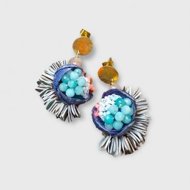 Earrings Tethys bleu