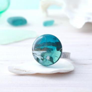 Bague unique en verre artisanal - Collection Archipel