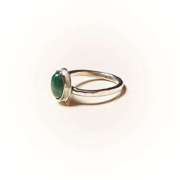 Ring Silver with Malachite