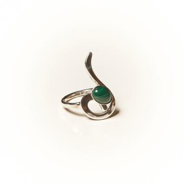 Ring Silver with Malachite 5