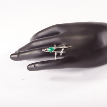 Ring Silver with Malachite 6