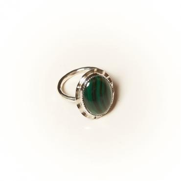 Ring Silver with Malachite 9