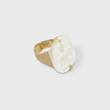 Ring Buddha white and gold