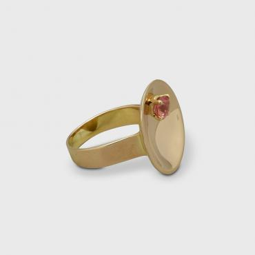Bague Coupole d'or rose, saphir paparacha