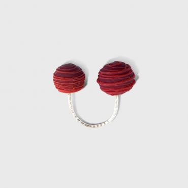 Ring Bobine rouge perles rondes