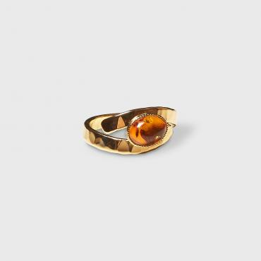 Ring gold-plated with amber 4