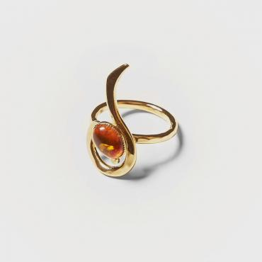 Ring gold-plated with amber 5