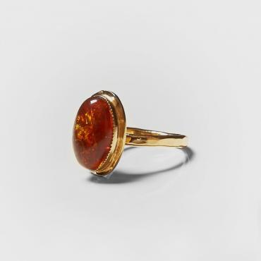 Ring gold-plated with amber 7