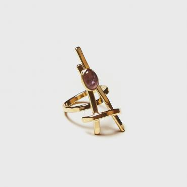 Ring Gold-plated with Amethyst 6