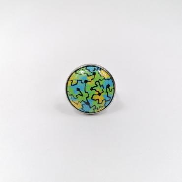 Ring in enamel on copper Pop Art Blue turquoise, Green and Yellow