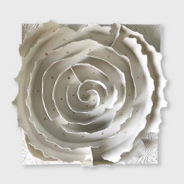 Bas relief contemporain - papier porcelaine or