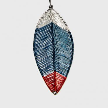 Long necklace Plume peacock blue and red