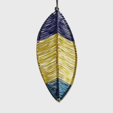Long necklace Plume yellow