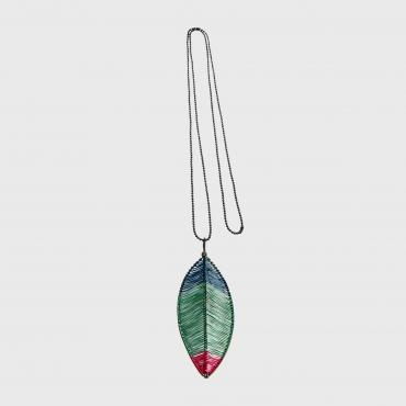 Long necklace Plume green