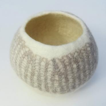 Pot Mesh&felt small White/beige