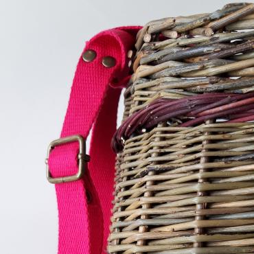 Messenger bag - wicker and coton strap