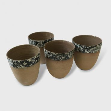 Set of 4 big cups Ocre Fleur Japonaise
