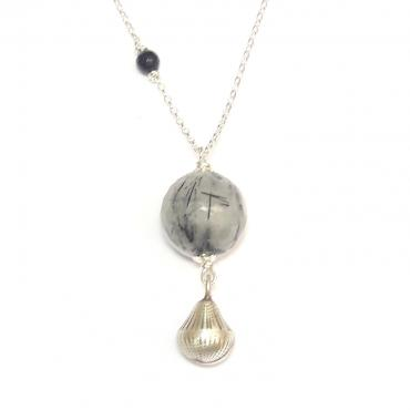 Pregnancy jewel Silver and Quartz Rutile