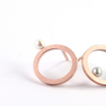 Earrings Pearls Silver-gilt and Rose gold